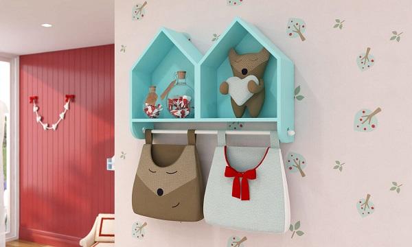 Nicho casinha com porta fraldas traz ainda mais praticidade ao quarto do bebê