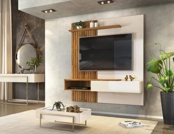 O painel ripado pode ser agregado na estrutura do painel para TV