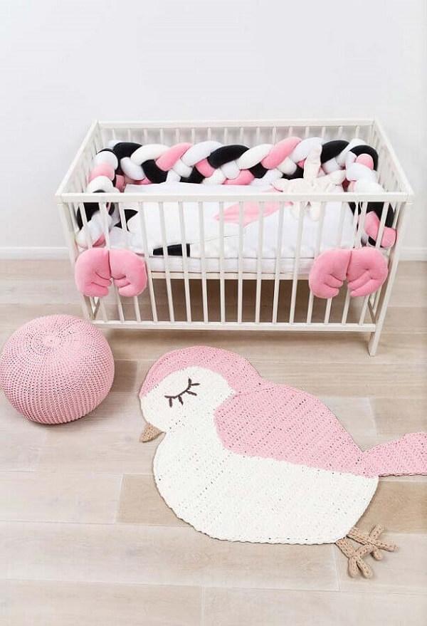 Tapete de crochê para quarto infantil feminino em formato de passarinho
