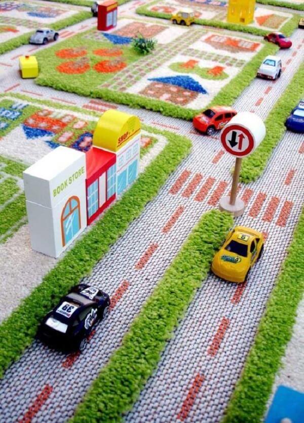 Uma cidade inteira criada no tapete grande para quarto infantil