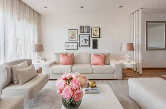 Almofada rosa com sofá claro