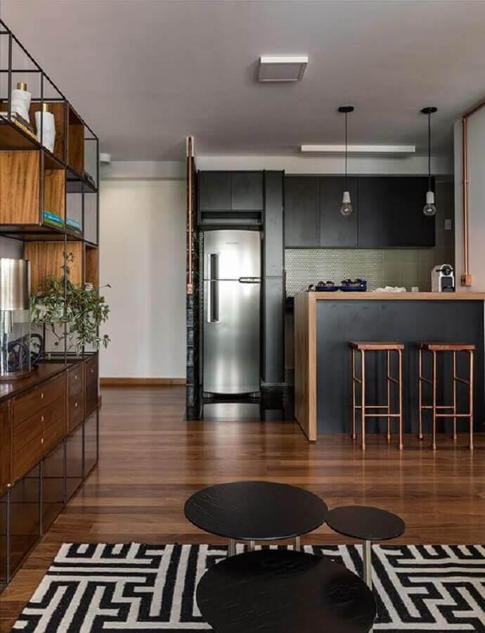 armários planejados pretos para cozinha e sala integrada Foto Casa de Valentina