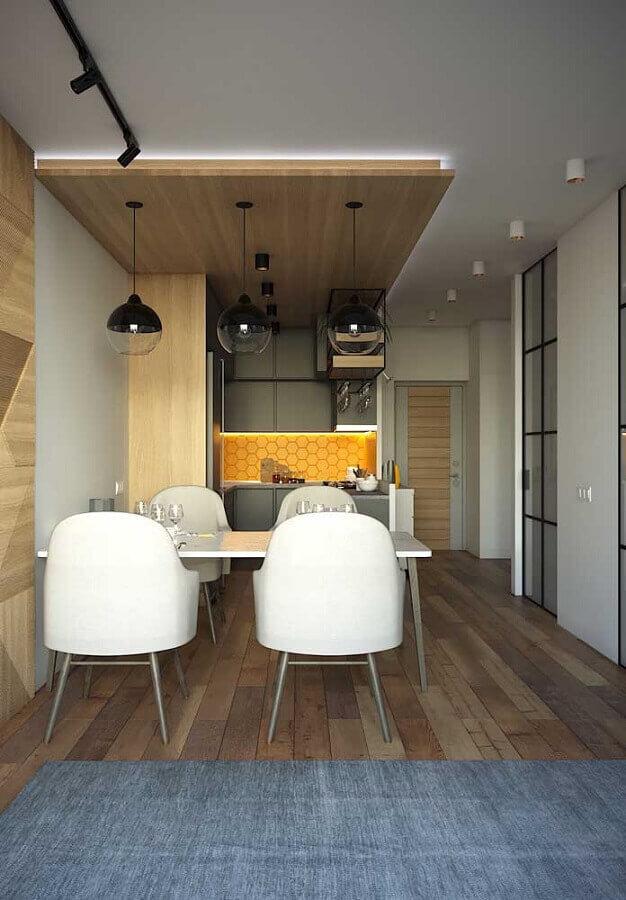 cadeiras brancas para decoração de cozinha e sala de jantar integradas modernas Foto Home Fashion Trend