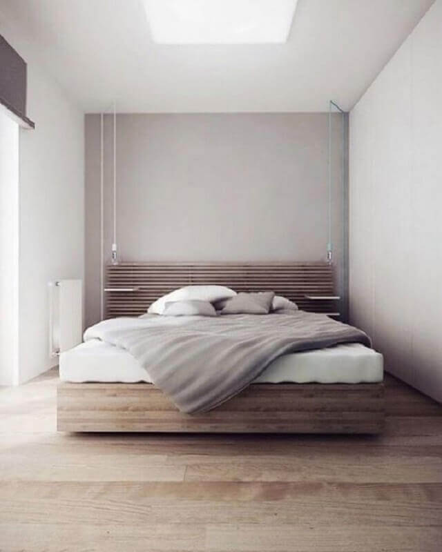 cama de madeira para quarto de casal minimalista Foto Futurist Architecture