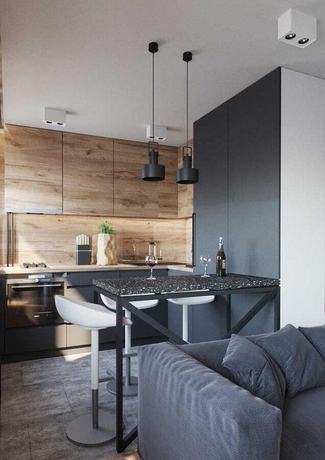 cinza escuro e armário aéreo de madeira para sala e cozinha integrada pequena Foto Behance