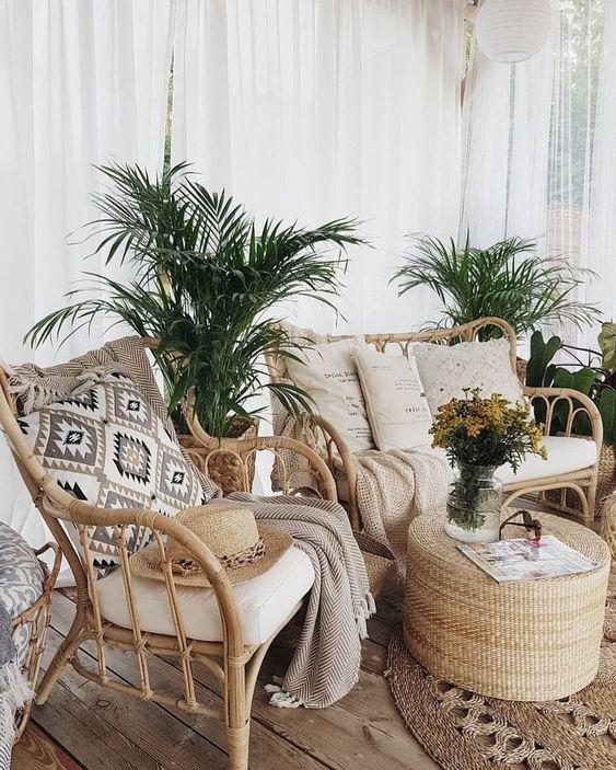 Conjunto de sofá e poltrona rústico