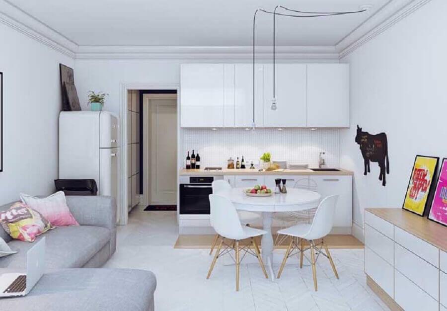cor branca para decoração de sala e cozinha integrada simples Foto Home Fashion Trend