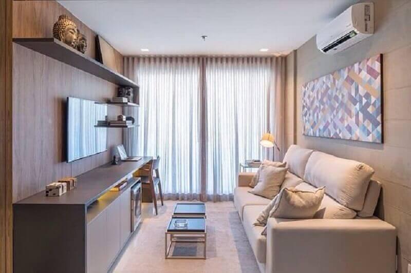 cores neutras para sala de TV decorada com sofá pequeno Foto Pinterest