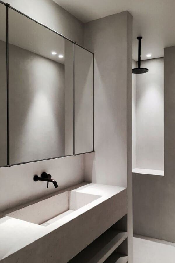 decoração banheiro minimalista cinza Foto Futurist Architecture