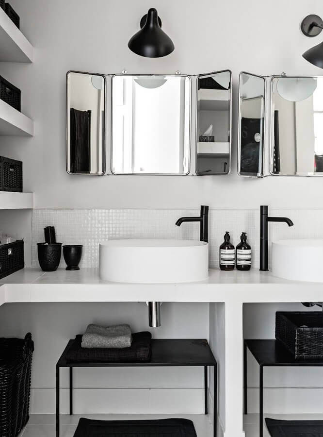 decoração branco e preto para banheiro minimalista Foto Home Fashion Trend