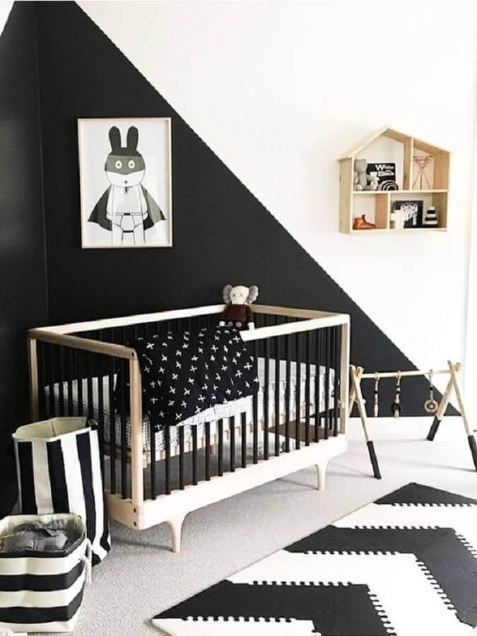 decoração branco e preto para quarto de bebê minimalista Foto MyDomaine