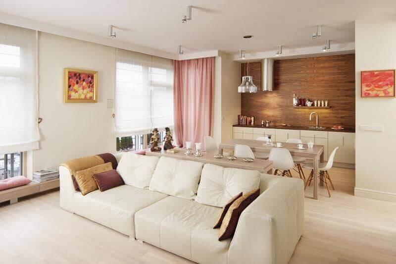 decoração clean em cores neutras para sala de estar e cozinha integradas Foto Pinterest
