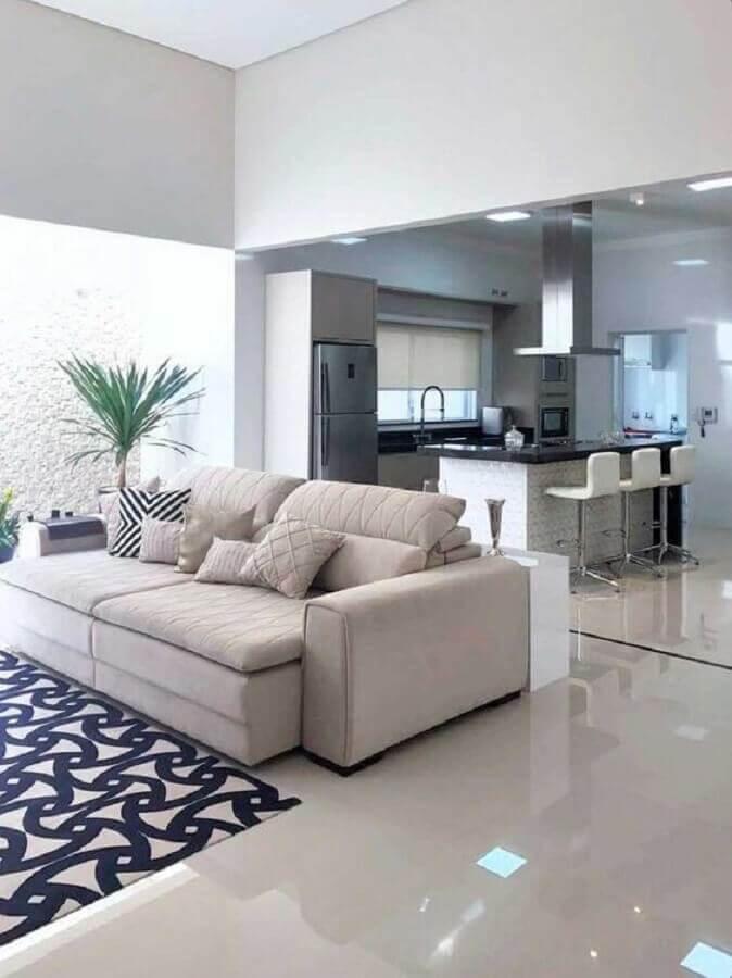decoração clean para sala e cozinha integrada com ilha grande Foto Arkpad