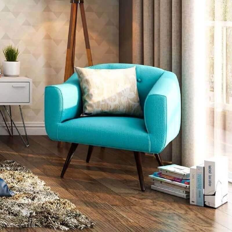 decoração com poltrona azul Tiffany confortável Foto Pinterest