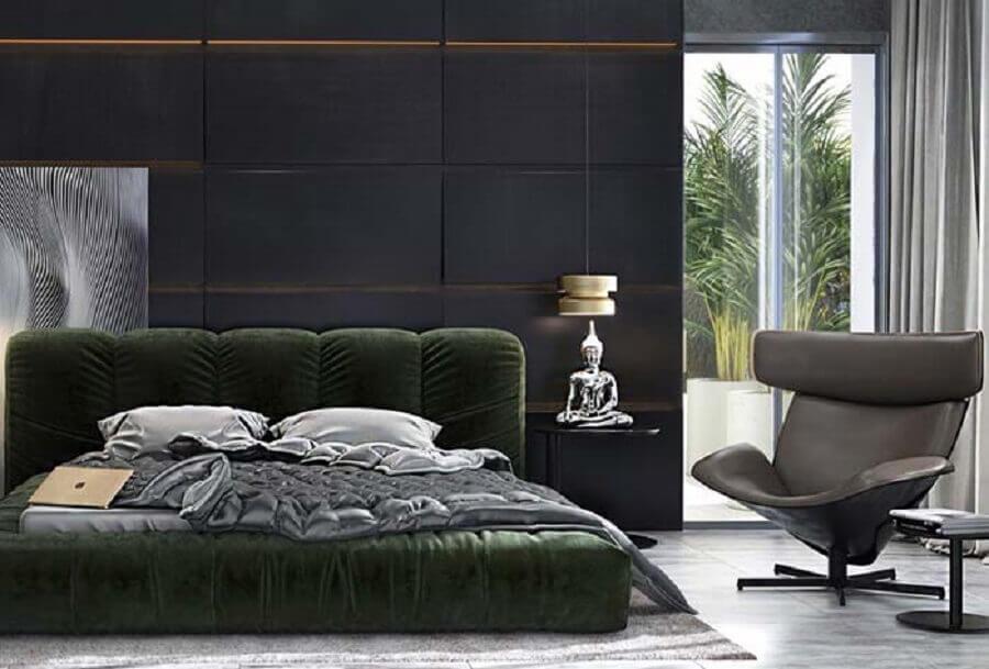 decoração com poltrona moderna para quarto preto Foto Lolafá