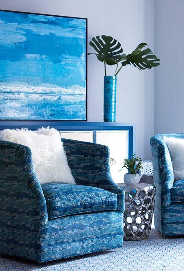 decoração com poltrona para sala azul Foto Pinterest