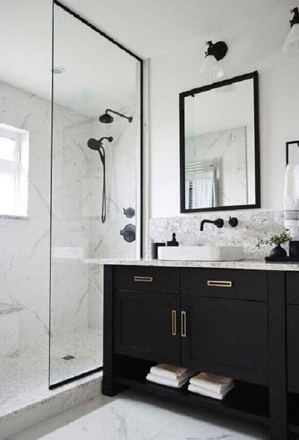 decoração de banheiro preto e branco Foto Pinterest