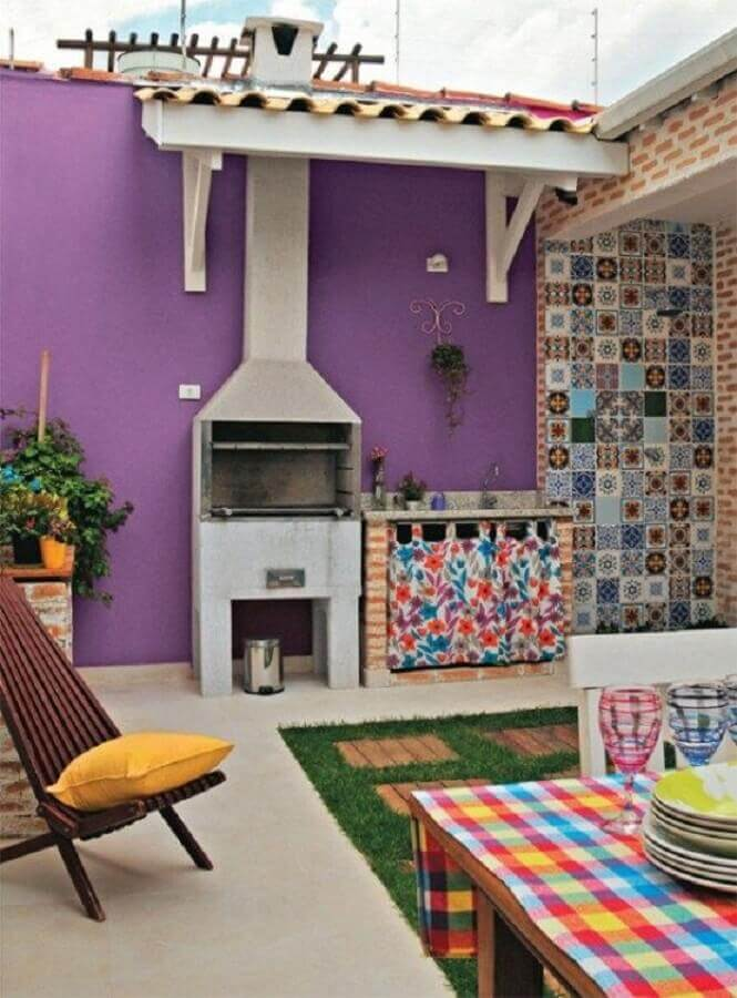 decoração de cozinha externa colorida Foto Homify