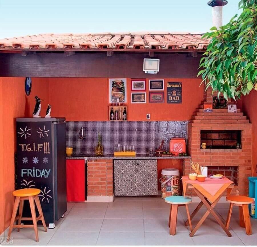 decoração de cozinha externa simples com churrasqueira Foto Pinterest
