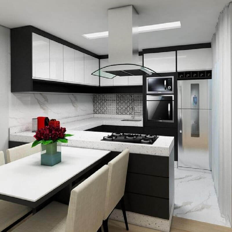 Decoração de cozinha preto e branco planejada em U Foto Pinterest