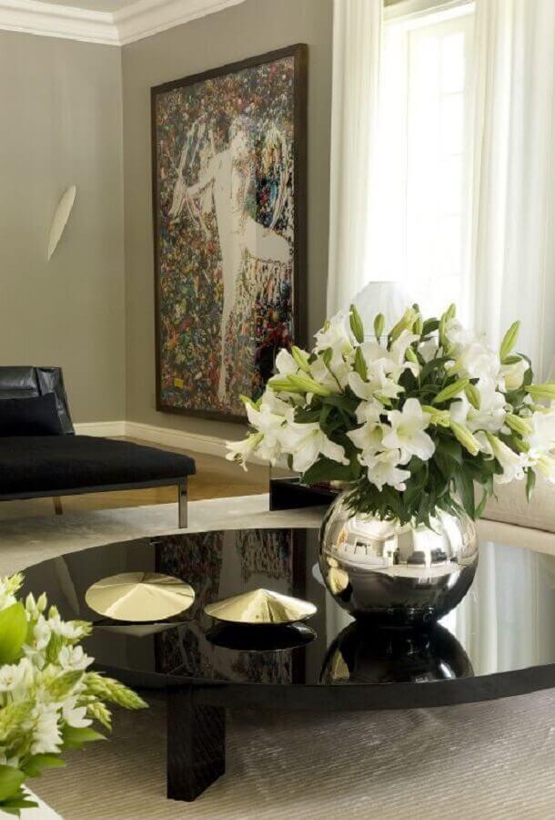 decoração de mesa de centro preta com vaso de flor Foto Home Fashion Trend