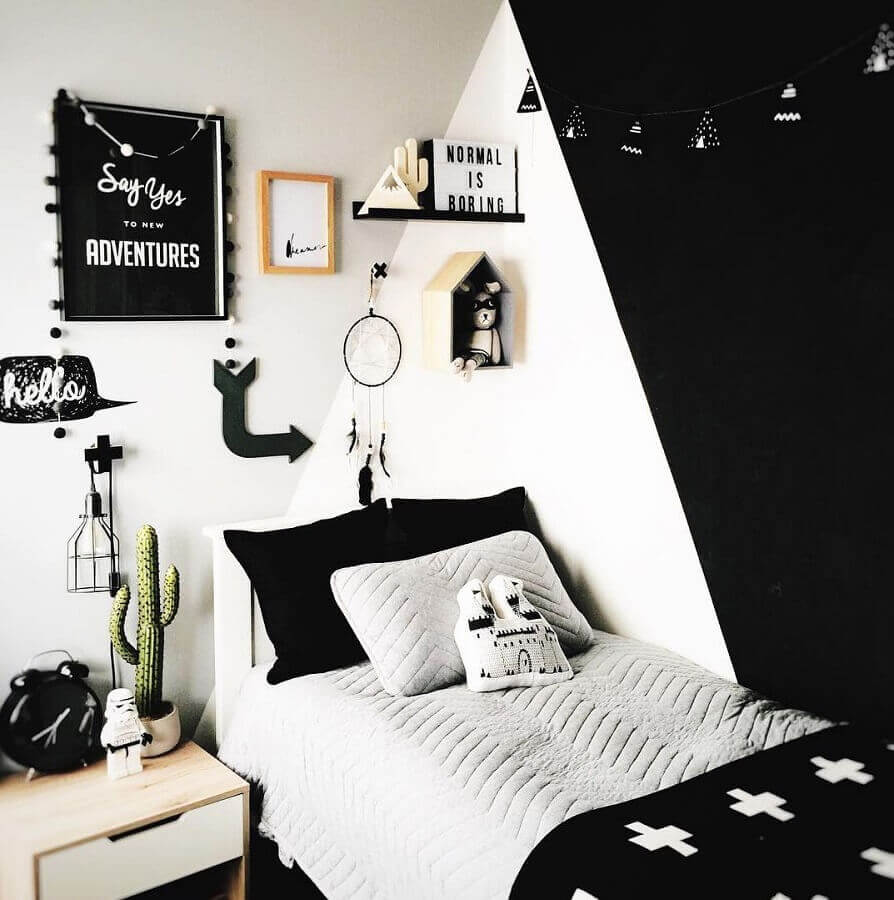 decoração de quarto de solteiro preto e branco Foto Pinterest