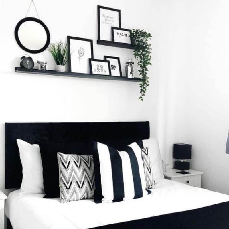 decoração de quarto preto e branco simples Foto Pinterest