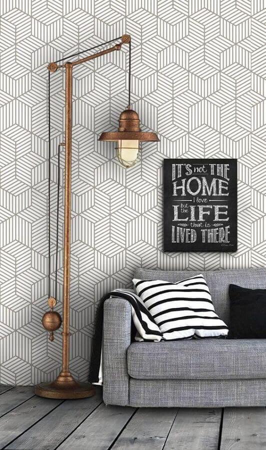 decoração de sala com sofá cinza e papel de parede delicado geométrico Foto Pinterest