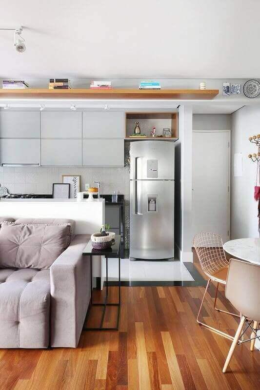 decoração de sala de estar e jantar e cozinha integrada Foto Histórias de Casa