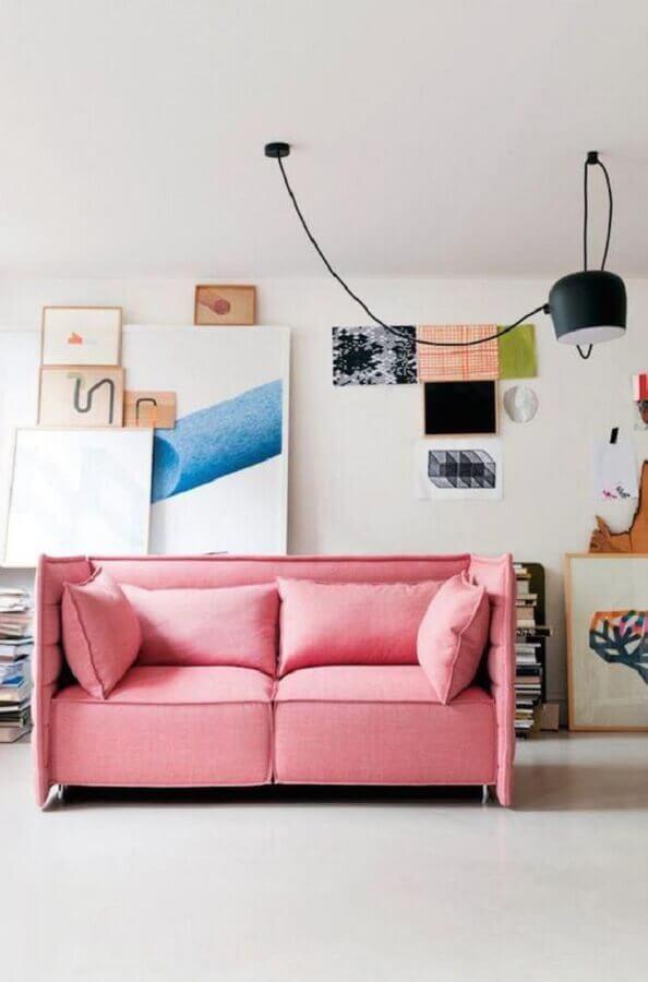 decoração de sala moderna com sofá pequeno rosa Foto Otimizi
