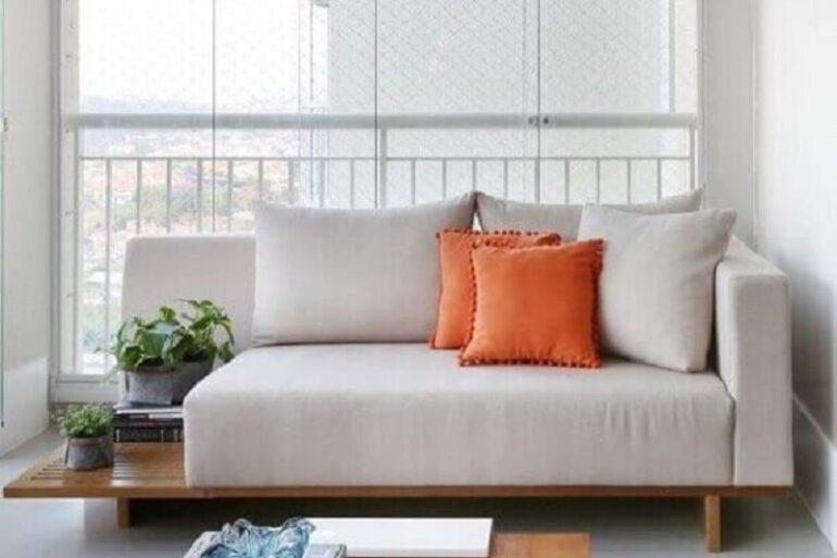decoração de varanda com sofá pequeno moderno Foto Jeito de Casa