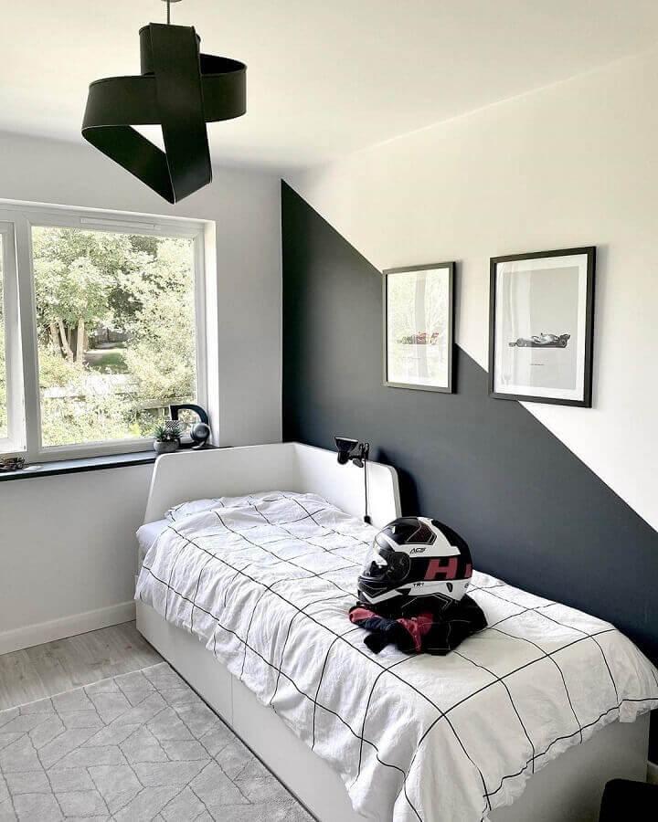 decoração em preto e branco para quarto de solteiro minimalista Foto Pinterest