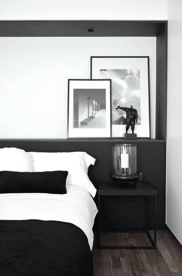 decoração em preto e branco para quarto planejado moderno Foto Pinterest