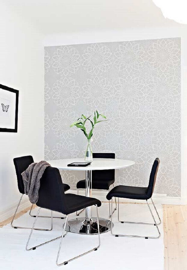 decoração minimalista com papel de parede delicado para sala de jantar Foto Simples Decoração