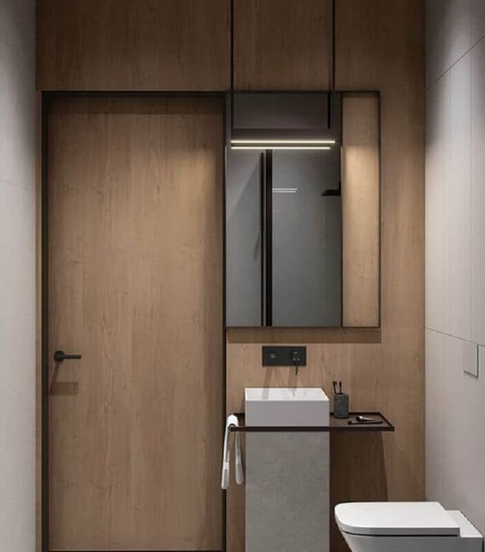 decoração minimalista para banheiro amadeirado Foto Behance