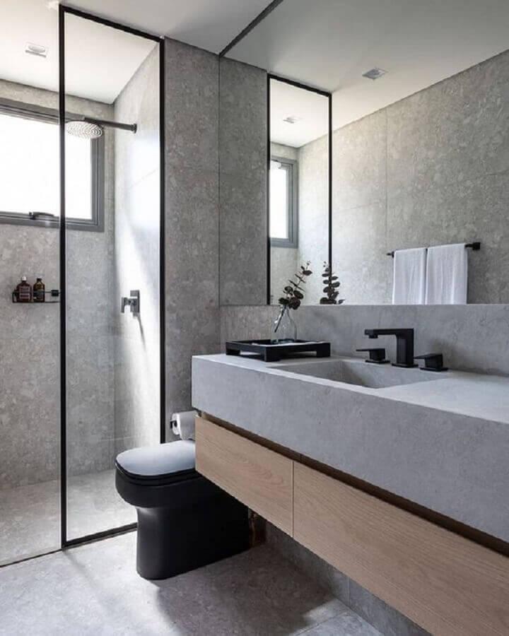 decoração minimalista para banheiro cinza com detalhes preto Foto Pinterest
