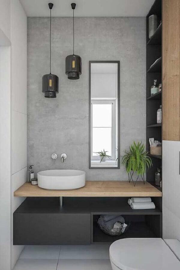 decoração minimalista para banheiro com bancada de madeira e parede de cimento queimado Foto Dicas Decoração