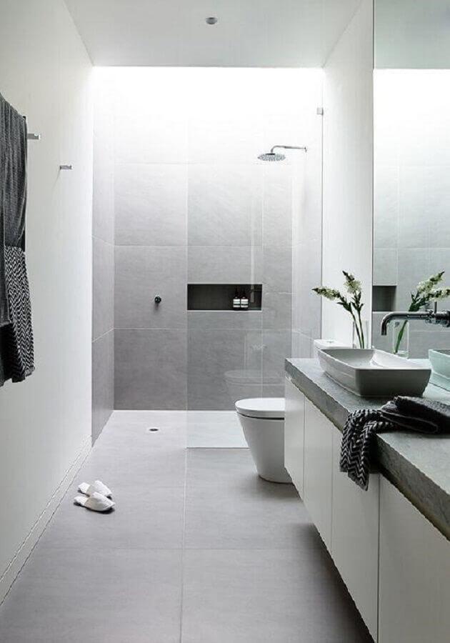 decoração minimalista para banheiro com box de vidro Foto Manual da Obra