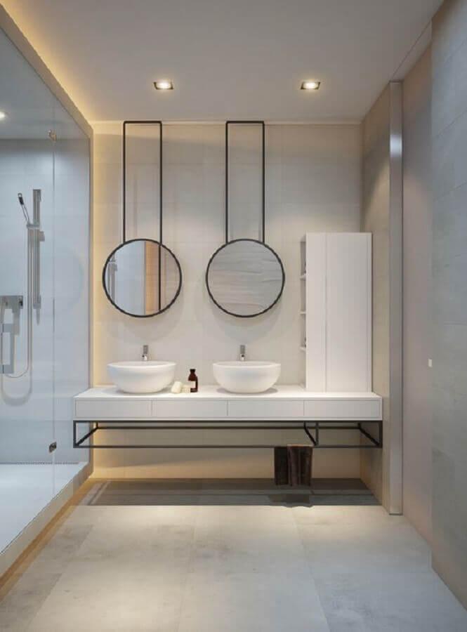 decoração minimalista para banheiro planejado Foto Behance