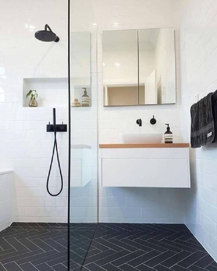 decoração minimalista para banheiro simples Foto Archzine