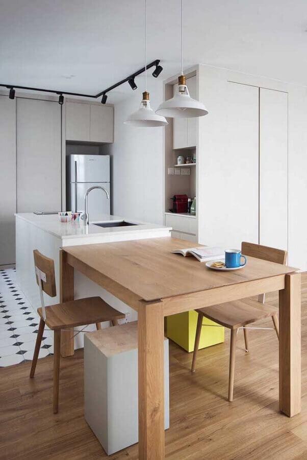 decoração minimalista para sala e cozinha integrada com ilha e mesa de madeira Foto Pinterest