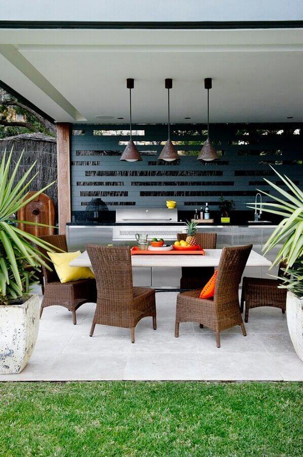 decoração moderna com cozinha gourmet externa Foto Pinterest