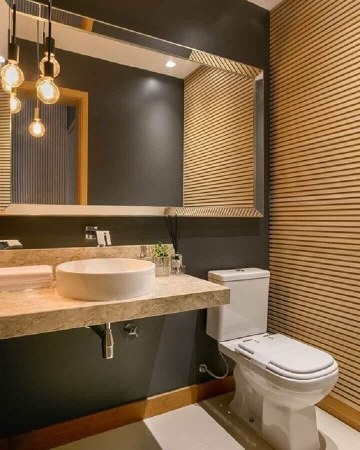 decoração moderna com luminária pendente para banheiro cinza Foto Casa de Valentina
