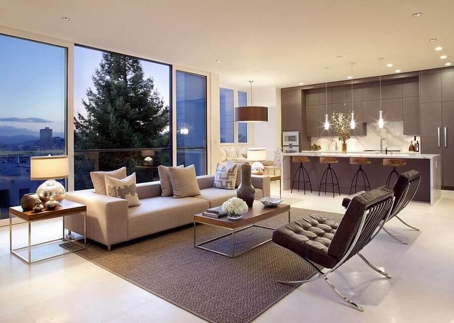 decoração moderna e sofisticada para sala de estar e cozinha integrada amplas Foto Decostore