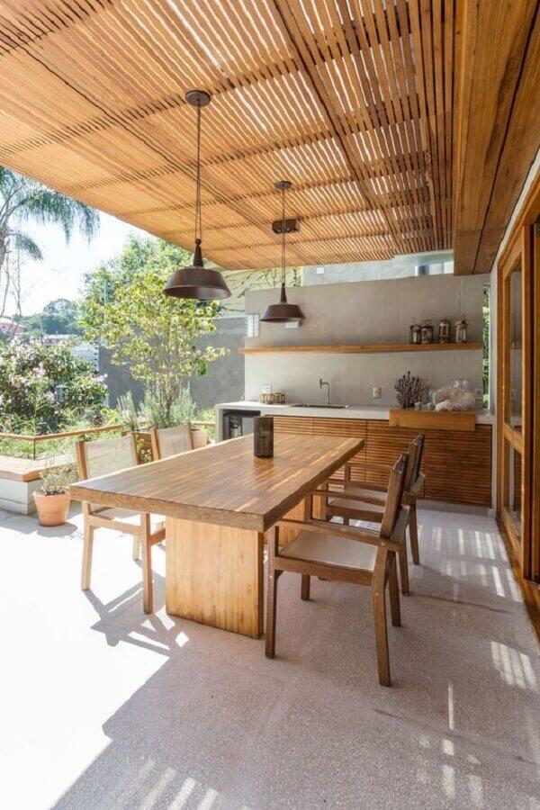 decoração para cozinha externa de madeira planejada Foto Comparato Arquitetura