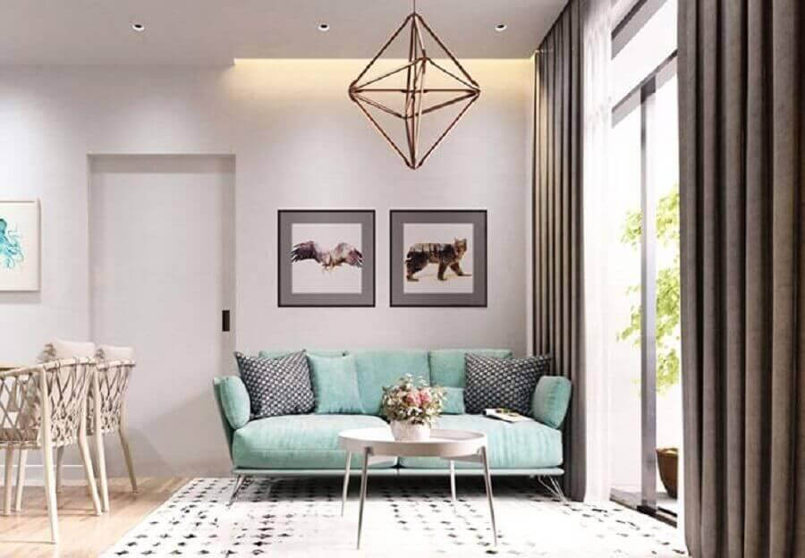 decoração para sala de estar com sofá pequeno verde água Foto Architecture Art Designs