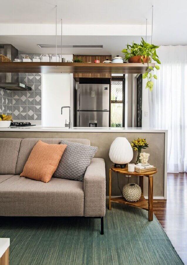 decoração para sala de estar e cozinha integradas Foto Histórias de Casa