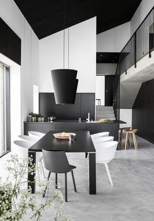 decoração preto e branco para casa moderna com ambientes integrados Foto Futurist Architecture