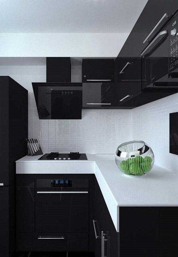 decoração preto e branco para cozinha planejada moderna Foto Construção e Design