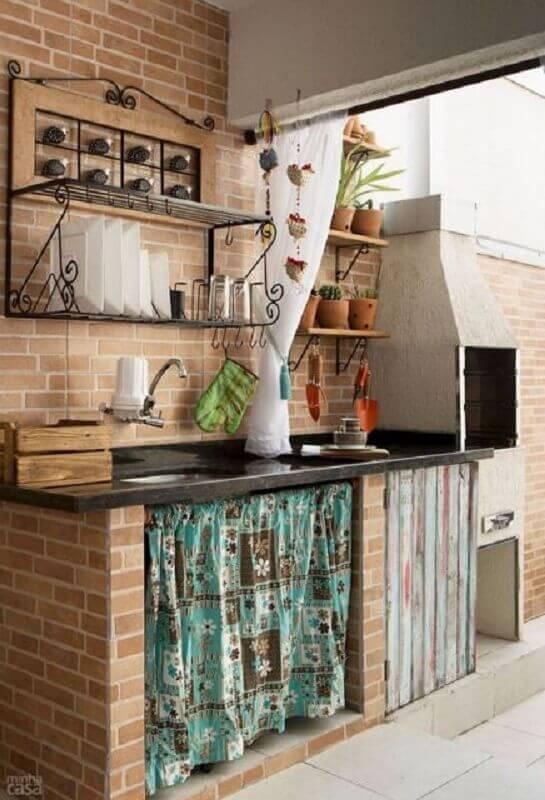 decoração rústica para cozinha externa simples e pequena Foto Pinterest